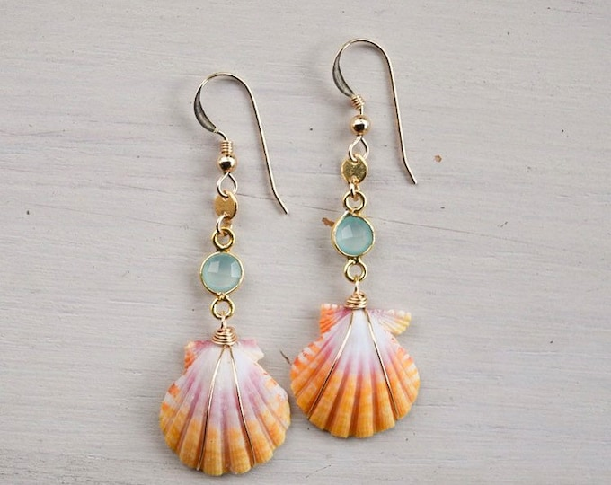 Yellow and Pink Sunrise Shells x Chalcedony Gemstones
