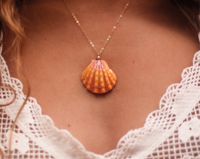 Traditional Yellow and Pink Sunrise Shell Necklace/14k Gold Filled/18""