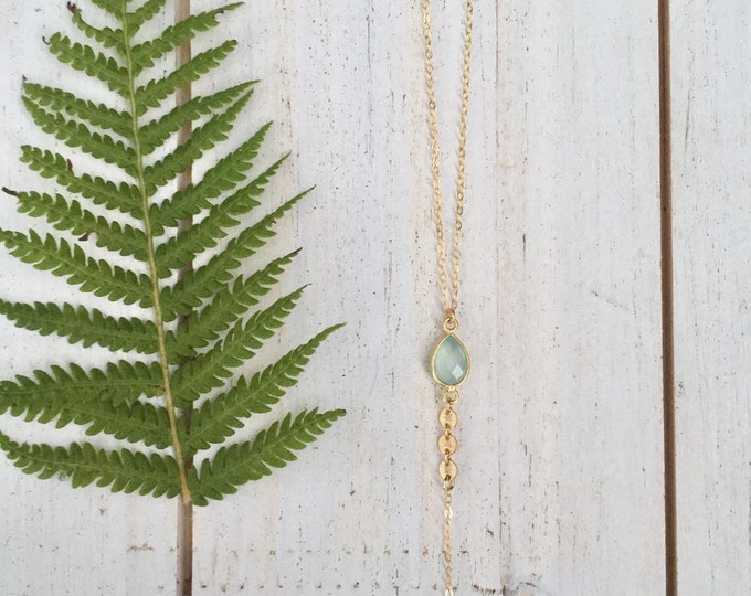 Sea Foam Chalcedony Gemstone Lariat/14k Gold Filled