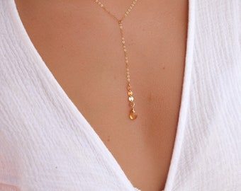 Citrine Lariat Necklace/Coin Detail/14k Gold Filled