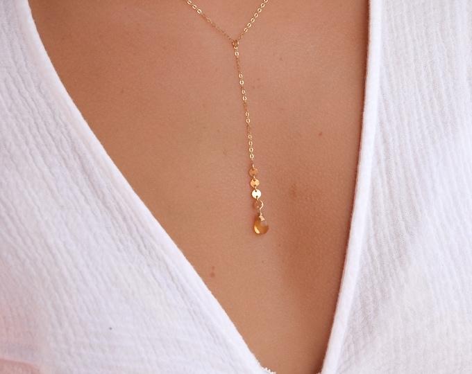 Citrine Lariat Necklace/Coin Detail/14k Gold Filled