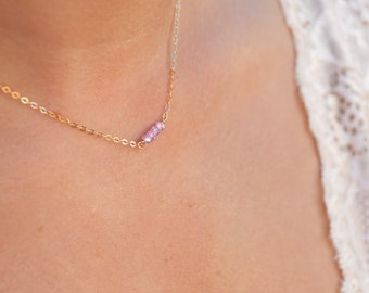 Tiny Pink Gemstone Necklace/15""