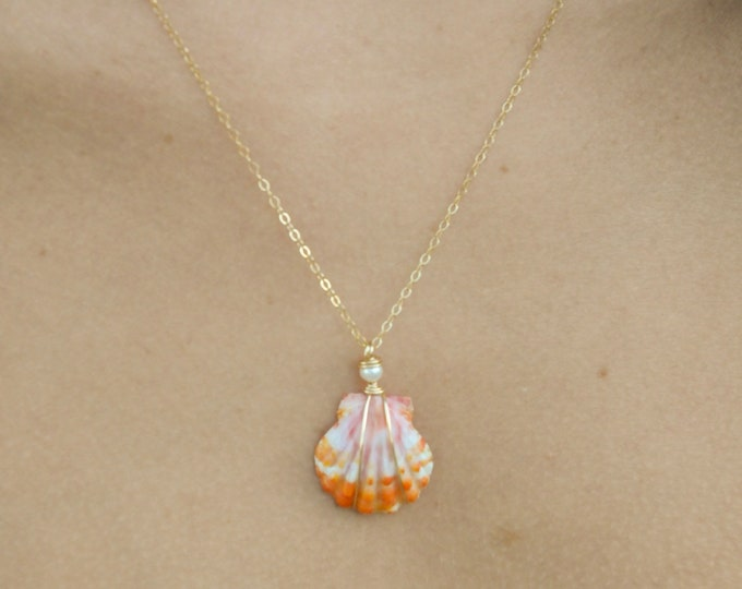 """Sunrise Shell with Freshwater Pearl/14k Gold Filled/18"""""""