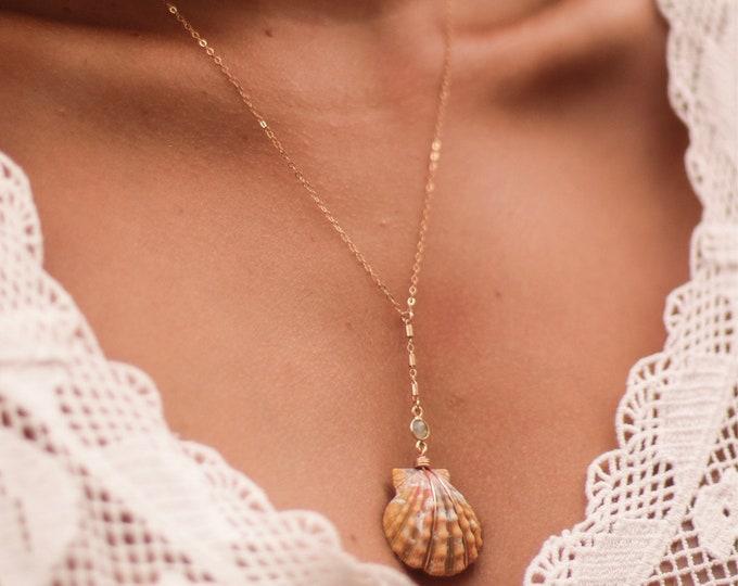 "Lariat Sunrise Shell Necklace/14k Gold Filled /18"""
