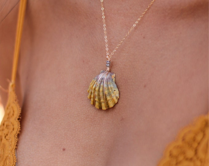Moonstone Shell Necklace/14k Gold Filled/18""