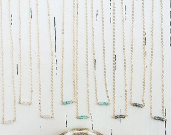 "Tiny Gemstones Necklaces/14k Gold Filled/15"""