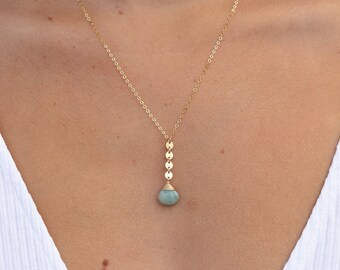 """Amazonite Coin Drop Necklace/14k Gold Filled/18"""""""