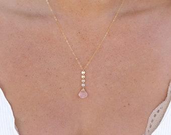 """Rose Quartz Coin Drop Necklace/14k Gold Filled/18"""""""