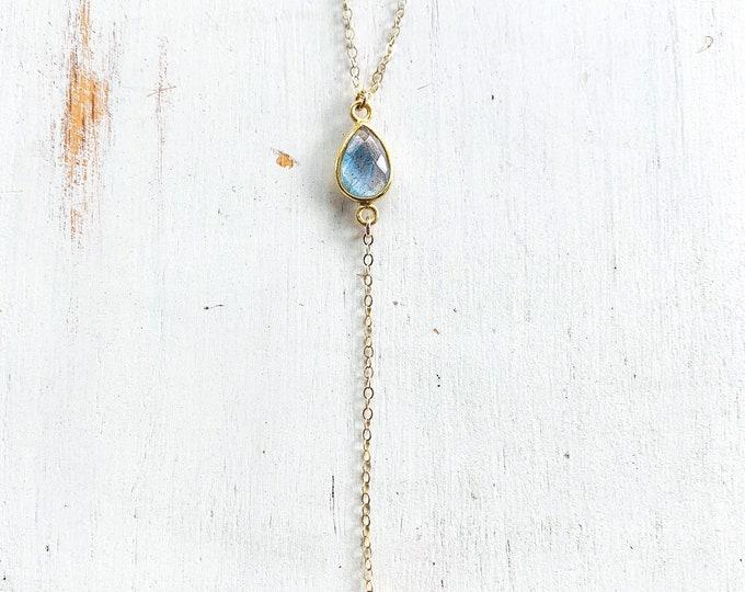 "Labradorite Lariat Gemstone Necklace/14k Gold Filled/17"""