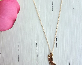 """California State Charm  Necklace/14k Gold Filled/18"""""""