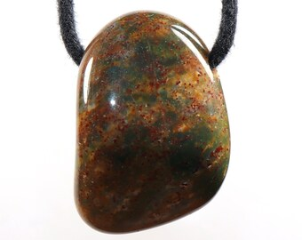 -- 33 x 21 mm  1.30 x 0.83 inch stone size Gold obsidian on leather strap  cotton cord necklace