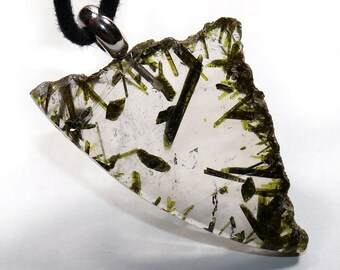 Epidot in rock crystal on leather strap / cotton cord (necklace) --- stone size: 46 x 31 mm / 1.81 x 1.22 inch