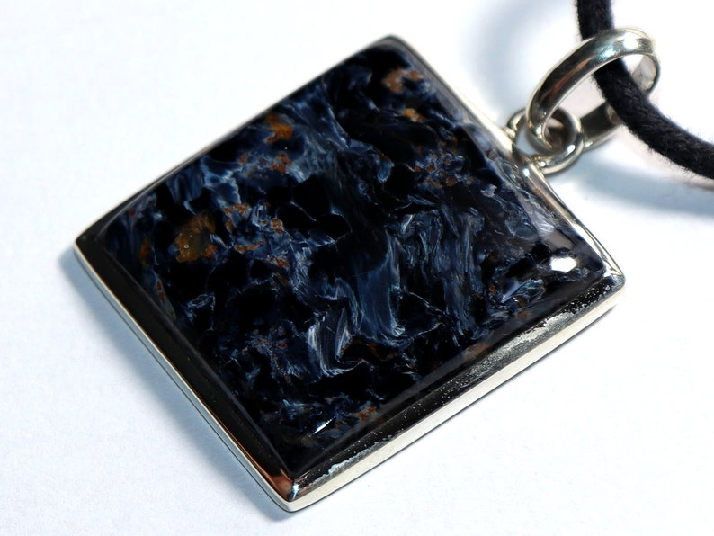stone size necklace -- Pietersite on leather strap  cotton cord 27 x 25 mm  1.06 x 0.98 inch