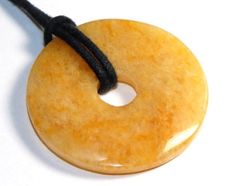 Aventurine (donut) on leather strap / cotton cord (necklace)