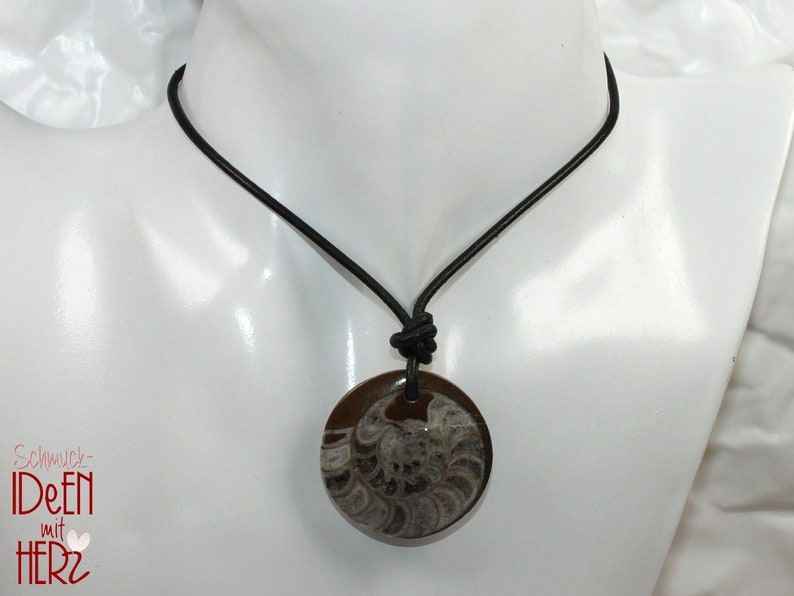 -- necklace 33 mm  1.30 inch Ammonite on leather strap  cotton cord stone size