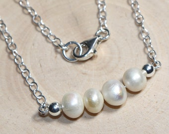Freshwater pearls and silver 925 (necklace) - custom length - fine, filigree