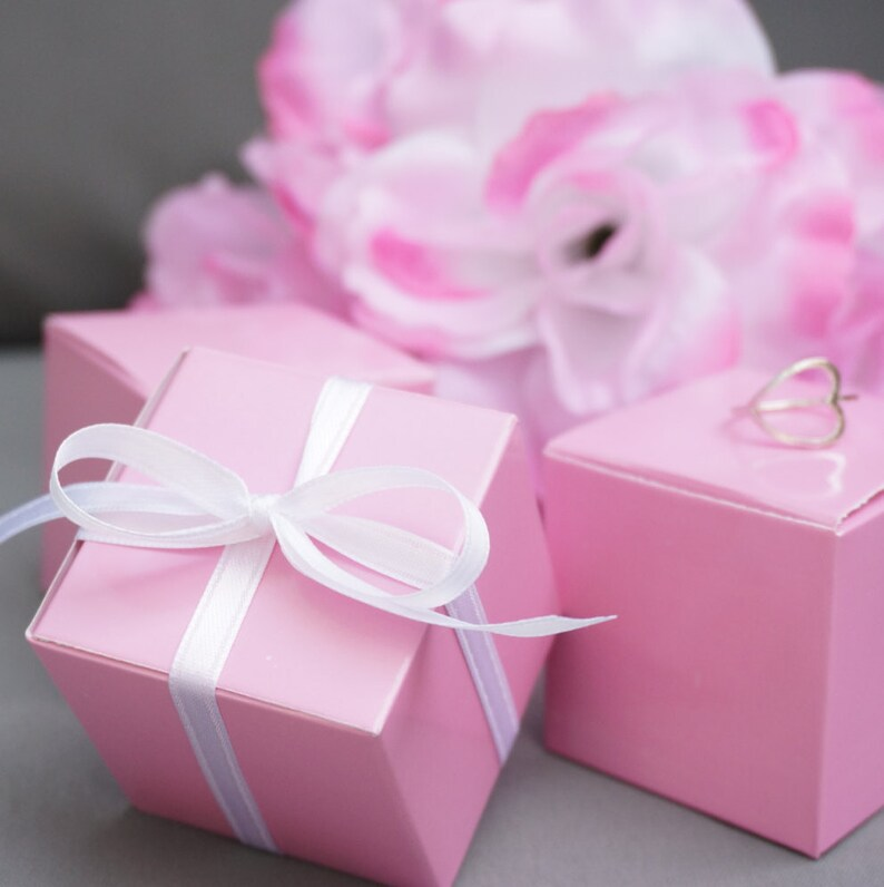 10 Pink Favor Boxes Jewelry Gift Boxes Gift Wrap Pastel Pink Theme Bridal Shower Wedding Baby Shower Gifts Its A Girl
