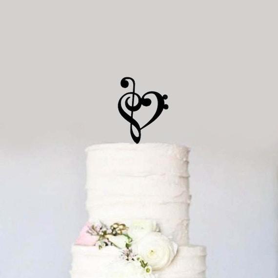 Black Treble Bass Clef Heart Wedding Cake Topper Music