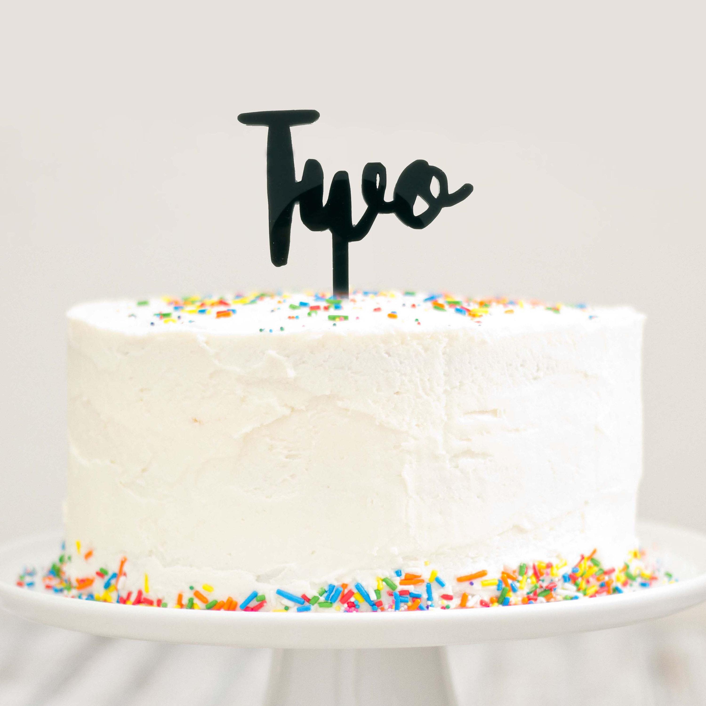 Two Cake Topper 2 Year Old Birthday Cake Modern Cursive Smash Etsy