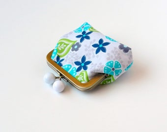 Coin Pouch, Clasp Wallet, Mini Wallet, Kisslock Coin Purse, Loyalty Card Holder, Desk Organizer, Jewelry Pouch, Glue Frame, Floral Pattern