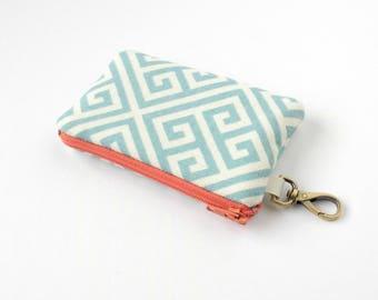 Coin Purse, Pouch With Clip, Cute Change Purse, Zipper Change Purse, Small Pouch, Handbag Accessory, Travel Jewelry Bag, Blue Geometric