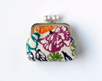 Change Purse, Mini Clutch, Coin Purse, Snap Coin Purse, Jewelry Pouch, Metal Frame, Purse Accessory Desk Organizer Gift For Her, Jewel Tones