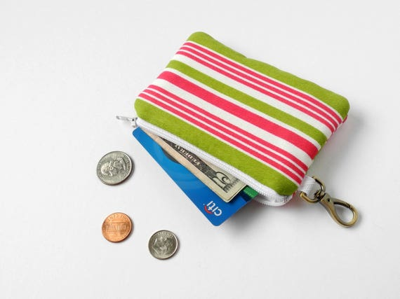 Colored Flamingo Pattern Canvas Change Coin Purse Retro Money Bag With Zip
