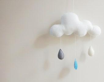 Cloud Mobile   Baby Mobile   Rain Cloud Mobile   Nursery Decor   Baby Shower Gift   Crib Mobile   Kids Room - MADE TO ORDER