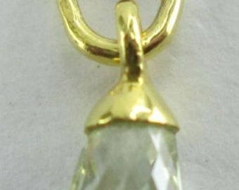 Champagne Briolette Diamond Pendant 14K Solid Yellow Gold