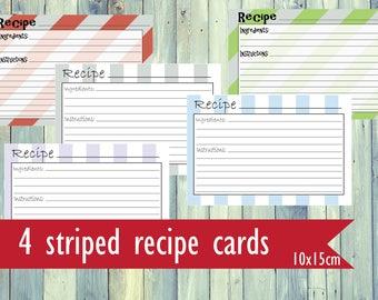 Printable recipe cards. Striped recipe cards. Pastel recipe cards. Printable simple recipe cards.