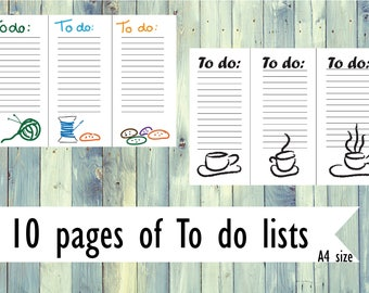 Printable 10 To do list pages. Instant download A4 To do list pages. Pack of 10 pages of To do lists. Bundle of 10 To do list pages.