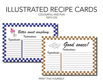 10 printable illustrated recipe cards. Printable illustrations for recipe organisation. Gift for her. Printable colourful cards.