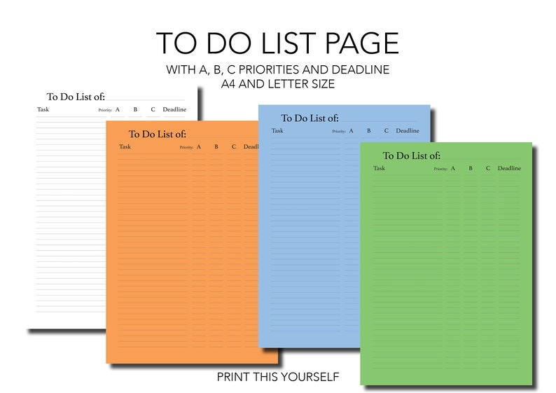 Printable To do list pages. Productivity planner. Printable image 1