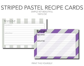Printable recipe cards. Striped pastel tone. Pastel recipe card. Printable pastel recipe cards. Gift for her. For recipe organisation.