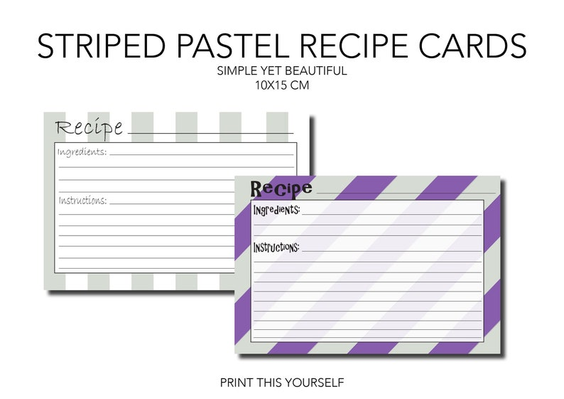 Printable recipe cards. Striped pastel tone. Pastel recipe image 0