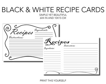 Printable Recipe cards. Black and white. Bundle of 10 printable simple recipe cards. Minimalistic printable for recipe organisation.