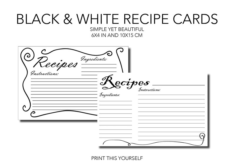 Printable Recipe cards. Black and white. Bundle of 10 image 0