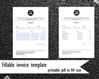 Printable Fillable invoice template. PDF invoice in A4 size. Printable custom file. Business printable. Company invoice. Printable template