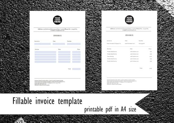 Ausfüllbaren Rechnungsvorlage Pdf Rechnung Im A4 Format Etsy