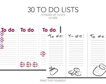 Printable 30 illustrated To do lists. Printable to do list pages. Bundle of 10 pages. Printable bundle. Illustrated to do list printable.