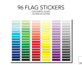 Printable 96 Flag Stickers. Colourful printable calendar stickers. Printable flag stickers. Printable label stickers. Colourful labels.