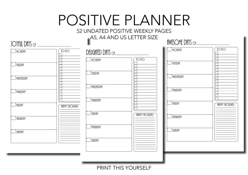 Positive mindset weekly planner. Printable weekly planner. image 0