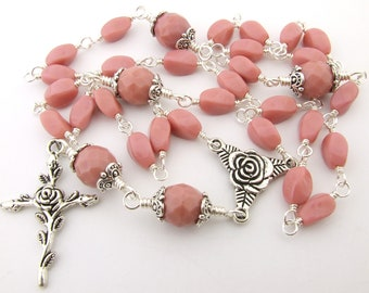 Anglican Prayer Beads - Soft Coral Pink Unbreakable Wire Wrapped Protestant Anglican Rosary - Episcopal Rosary Prayer Beads - Christian Gift