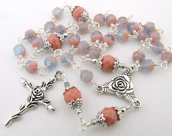 Anglican Prayer Beads - Soft Coral Pink & Aquamarine Wire Wrapped Anglican Episcopal Rosary Prayer Beads - Christian Gift