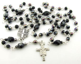 Franciscan Crown Rosary - Thin Seven Decade Rosary Beads with San Damiano Cross - Rosary Necklace - Catholic Gift