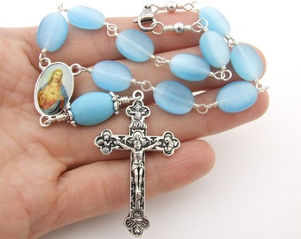 Car Rosary - Blue Cats Eye and Turquoise Gemstone Auto Rosary with Sacred Heart Medal Centerpiece - Unbreakable Auto Rosary - Catholic Gift