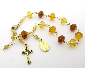 Rosary Bracelet - Brown Honey Amber Glass Unbreakable Wire Wrapped Catholic One Decade Rosary Beads with Miraculous Medal - Catholic Gift