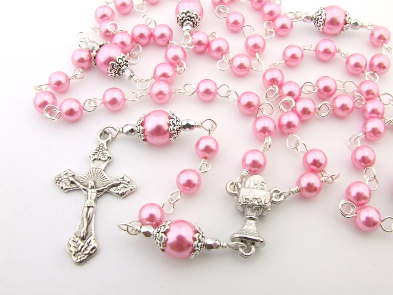 dd942894f Catholic Rosary Beads Chalice Centerpiece Pink Pearl Five   Etsy