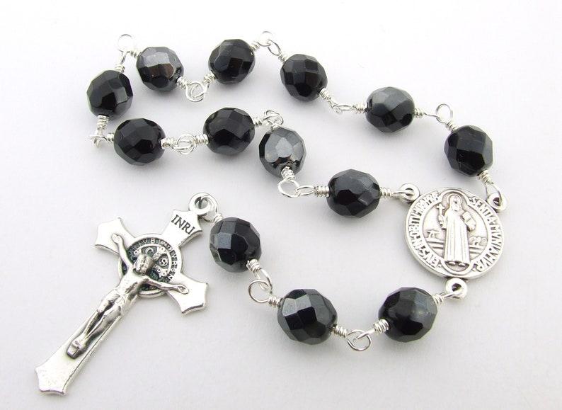 7117cf763c4 Catholic Rosary Beads Saint Benedict Crucifix & Medal Black | Etsy