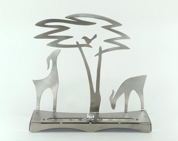 Gazelle et Acacia arbre Menorah, Judaica, Shraga Landesman, Hanoukka, Aluminium, acier inoxydable